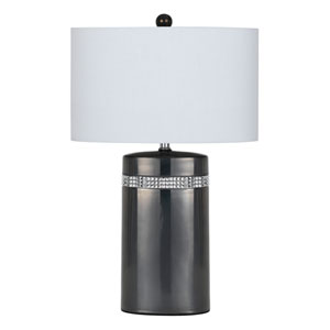 Gun metal Two-Light Seventeen-Inch Table Lamp