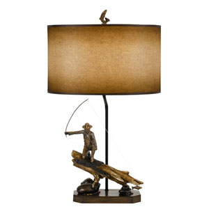 Lodge Cast Bronze One-Light Fly Fishing Fisherman Table Lamp