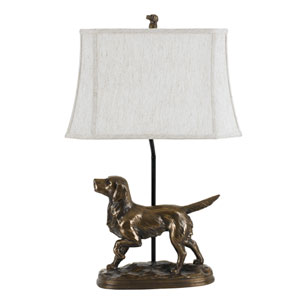 Lodge Cast Bronze One-Light Golden Retriever Table Lamp with Softback Fabric Shade