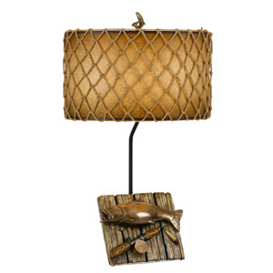 Lodge Cast Bronze One-Light Fishing Trophy Table Lamp