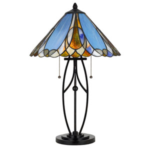 Tiffany Matte Black Two-Light 24-Inch Table Lamp