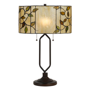 Tiffany Matte Black Two-Light 23-Inch Table Lamp