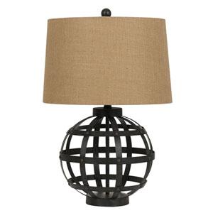 Bonham Charcoal One-Light Metal Table Lampe with Burlap Shade (Set of 2)