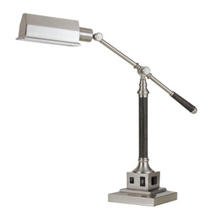 Brushed Steel and Wood One-Light Desk Lamp