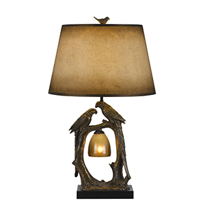 Antique Bronze Two-Light Table Lamp