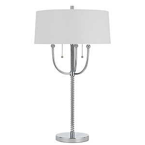 Chrome 31-Inch Two-Light Table Lamp
