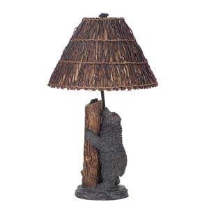 Antique Bronze Bear and Bee Table Lamp