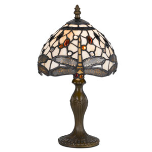 Tiffany Antique Brass 14-Inch Accent Lamp with Stained Multi-Colored Shade