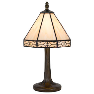 Tiffany Antique Brass 13.5-Inch Accent Lamp with Stained Multi-Colored Shade