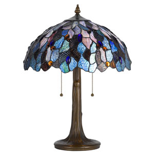 Tiffany Antique Brass 22.5-Inch Table Lamp with Stained Multi-Colored Shade