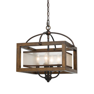 Wood Four-Light Sixteen-Inch Pendant