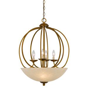 Birdcage Antiqued Gold Four-Light Chandelier