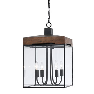 Antonio Dark Bronze and Wood Four-Light Pendant