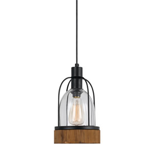 Beacon Wood and Dark Bronze One-Light Mini Pendant