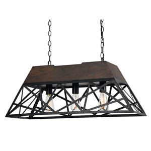 Antonio Wood and Dark Bronze Three-Light Pendant