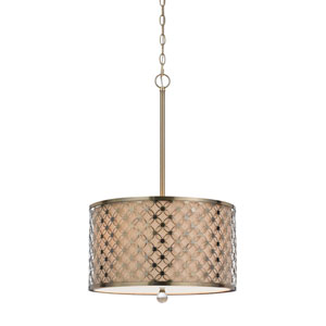 Myrtle Antiqued Brass Three-Light Pendant with Hardback Linen Shade