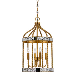 Glenwood French Gold and Antiqued Mirror Four-Light Pendant