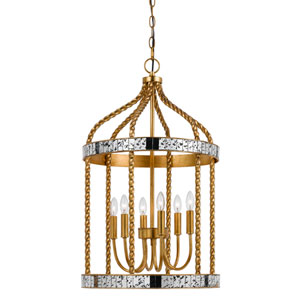 Glenwood French Gold and Antiqued Mirror Six-Light Pendant
