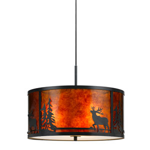 Lodge Dark Bronze Three-Light Mica Deer Pendant