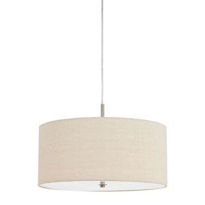 Addison Off-White Three-Light Linen Drum Pendant