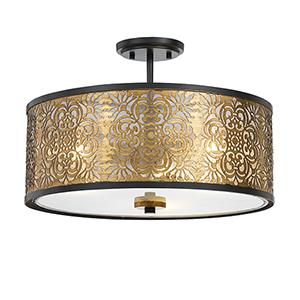 Antique Gold 18-Inch Three-Light Pendant