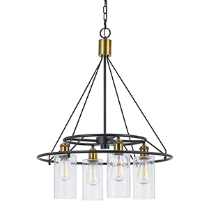 Antique Brass and Black Four-Light Chandelier