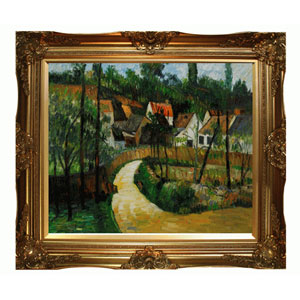 Turn in the Road by Paul Cezanne: 24 x 20 Oil Painting Reproduction with Victorian Gold Frame