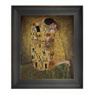 The Kiss by Gustav Klimt: 20 x 24 Framed Oil Painting Reproduction