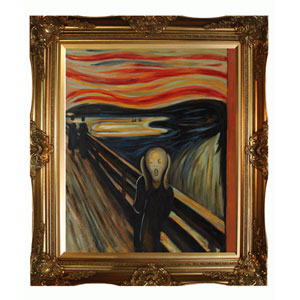 The Scream by Edvard Munch: 20 x 24 Oil Painting Reproduction with Victorian Gold Frame