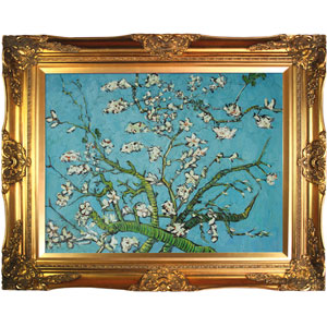 Branches of an Almond Tree in Blossom by Vincent Van Gogh: 40 x 30 Oil Painting Reproduction with Victorian Gold Frame