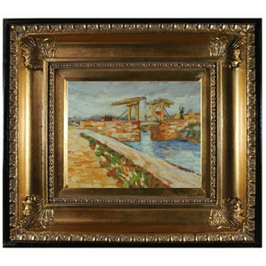 Langlois Bridge at Arles with Road Alongside the Canal by Vincent Van Gogh: 10 x 8 Oil Painting Reproduction with Regency Gold Frame