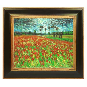 Field Poppies by Vincent Van Gogh: 20 x 24 Framed Oil Painting Reproduction