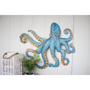 Blue Metal Octopus Wall Hanging