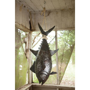 Brown Three Dimensional Tuna Fish Wall Decor With Sisal Rope