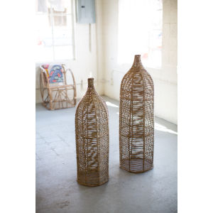 Natural Seagrass and Iron Bottle, Set of 2
