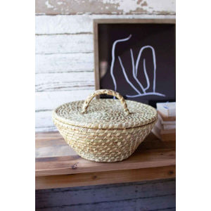 Beige Seagrass Basket with Lid and Handle