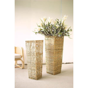 Beige Seagrass Tapered Planter, Set of Two