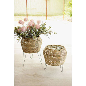 Beige Round Seagrass Planter on Iron Stand, Set of Two