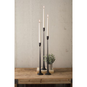 Black Cast Iron Candle Holder, Set of 3