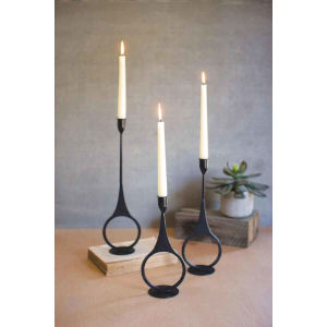 Black Cast Iron Taper Candle Holder, Set of Three