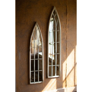 Tall Metal Painted Iron Church Mirrors, Set of Two