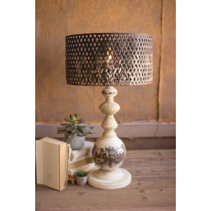 White Wash and Rustic One-Light Round Metal Base Table Lamp
