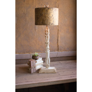 White Wash and Antique Gold One-Light Carved Wooden Base Table Lamp