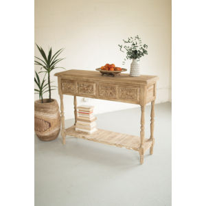 Natural Wood Teo Drawer Lower Shelf Console Table