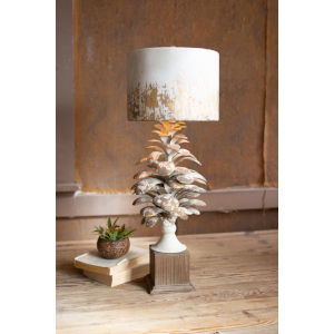 White 30-Inch One-Light Table Lamp with Pine Cone Base