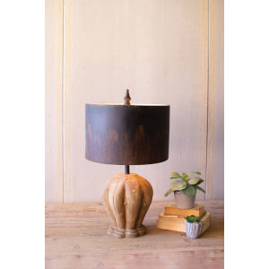 Natural 25-Inch One-Light Table Lamp with Wooden Base
