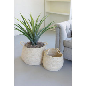 Beige Round Seagrass Basket with Handle, Set of Two