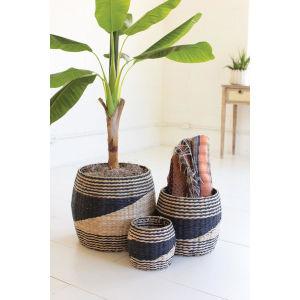 Rattan Wood Round Black Natural Seagrass Baskets, Set of Three