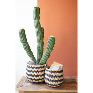 Rattan Wood Tall Round Black Natural Seagrass Baskets Handles, Set of Two