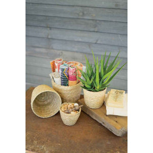 Rattan Wood Round Seagrass Baskets, Set of Four